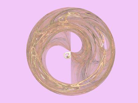 Una rosa d'oro e disco contro la luce di sfondo rosa