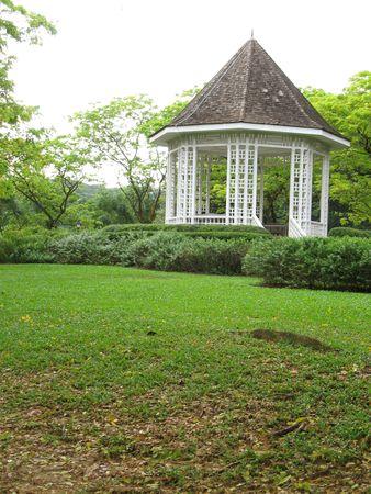 Single white pavilion found in Singapore Botanical Gardens