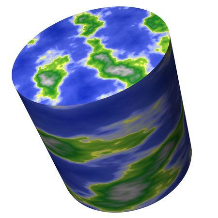 Cylinder World Map. Think