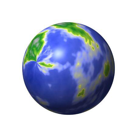 Una mappa del mondo rotondo con terre e mari