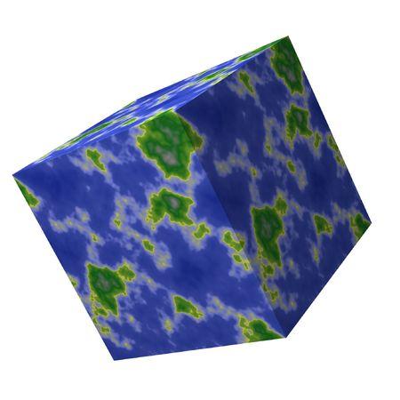 out think: Plaza de mapa del mundo. Piense fuera de la caja. El mundo no tiene que ser redonda.