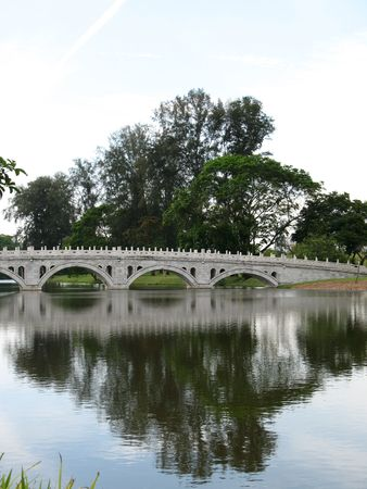 A bridge with a reflection on the water in Singapore Chinese Garden photo