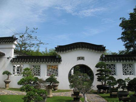 Un distintamente giardino orientale e cinese in Singapore
