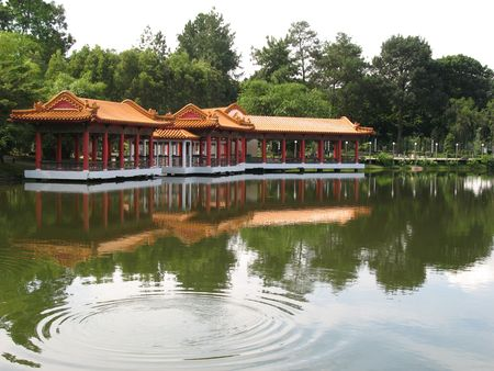 Chinese Pavilion Found at Singapore Chinese Garden set against a lake