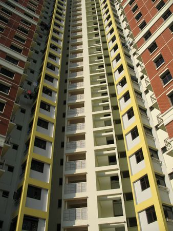 hdb: A block of HDB Flats found in Singapore showing symmetry and order