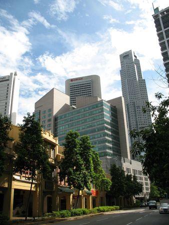 Distretto centrale di affari (cbd) ai raffles posto, Singapore, in cui tutte le costruzioni e banca commerciali sono individuate.