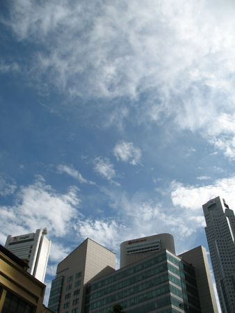 Central business district (cbd) at raffles place, singapore, where all the commercial buildings and banks are located.
