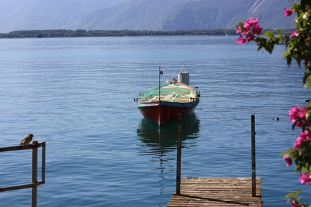 Single boat anchored at Montreux, Switzerland