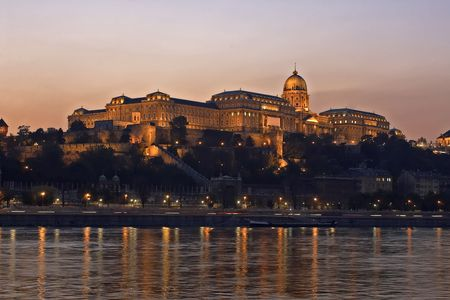 Hungarian Royal palace at night. Main point of interest in hungary Stock Photo - 529343