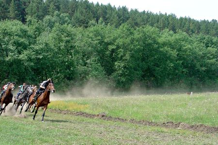 horse harness: At the last turn Rounding the Turn. Horse race Stock Photo