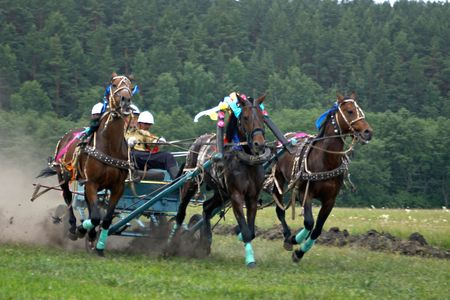 Horse race. Three horses  in harness.Rounding the Turn. Stock Photo - 757739