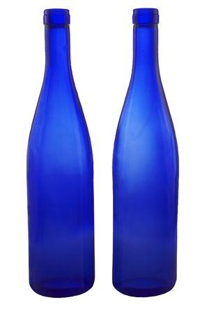 bottleneck: Two blue wine-bottle on white Stock Photo