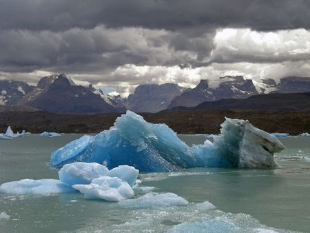 upsala: Iceberg in lake Argentino near of Upsala glacier Stock Photo
