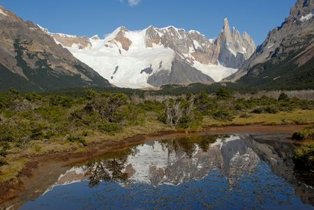 lake argentina: Mount Cerro Torre from way to lake Torre.Los Glaciares National Park, Patagonia, Argentina.