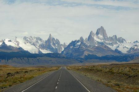 clambering: Mountaines  Fitz Roy and Cerro Torre from road to ChaltenGlaciares National Park, Patagonia, Argentina