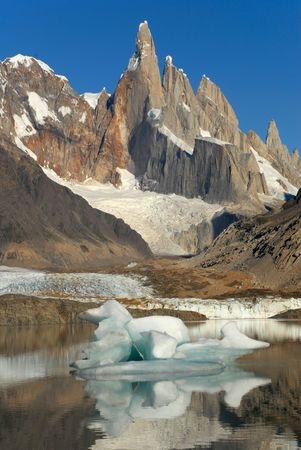 lake argentina: Mount Cerro Torre from lake Torre Los Glaciares National Park, Patagonia, Argentina Stock Photo
