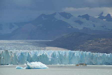 upsala: Argentine excursion ship near the Upsala glacier in Patagonia, Argentina.Lake Argentino, El Calafate Stock Photo