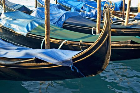 Venice gondolas (This is a traditional mode of transport for tourists in Venice) Stock Photo - 3334505