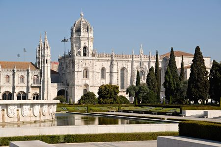 belem: Jeronimos Monastery (Mosteiro dos Jeronimos).It%uFFFDs located in the famous Belem area  near the Belem Tower.Point of interest in Lisbon, Portugal.