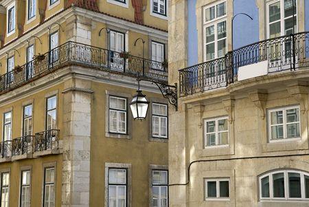 baixa: Baixa urban district of Lisbon.Iteresting point of view in Lisbon, Portugal. Stock Photo