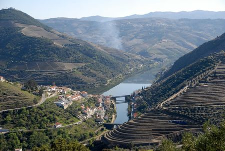 Douro Valley - mail Vineyard region in Portugal.Town Pinhao. Portugals port wine vineyards.Point of interest in Portugal.  Stock Photo