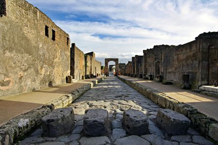 View of Pompeii ruins. Italy. Pompei is a ruined Roman city near modern Naples in the Italian region of Campania.  photo