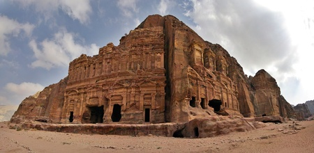 of petra: Panoramic shot of the Royal Tombs in Petra, Jordan. Stock Photo