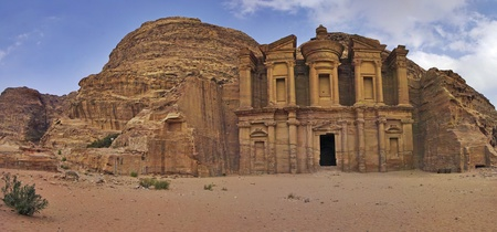 of petra: Panoramic shot of the Monastery Ad-Deir in Petra, Jordan. Stock Photo