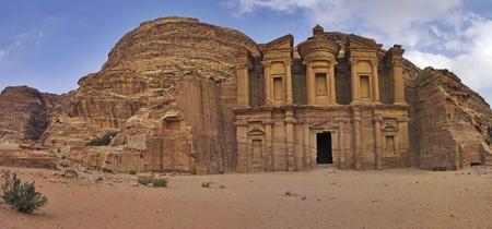 petra  jordan: Panoramic shot of the Monastery Ad-Deir in Petra, Jordan. Stock Photo