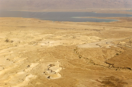 Dead Sea view from Masada, lowest place on earth.  Judean Desert. photo