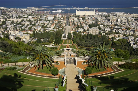 bahaullah: View of Haifa with the Bahai Gardens. Israel.