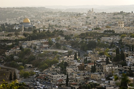 View of the old city from the mount of olives. Jerusalem, Israel. Rock mosque (Oman) is left. photo