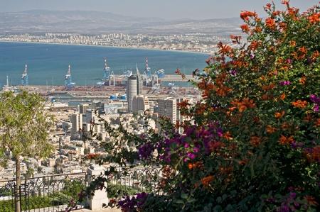 haifa: The Port city of Haifa. Israel. View from mount.