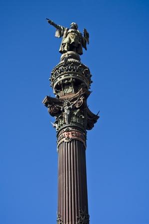 christopher columbus: Statue of Christopher Columbus against a blue sky. Barcelona, Spain.