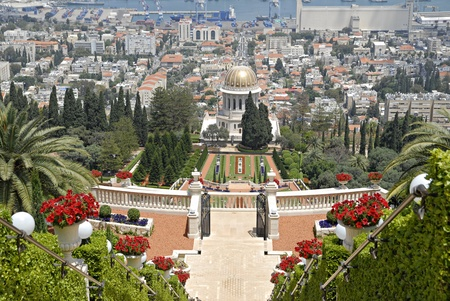 Ornamental garden of the Baha'i Temple in Haifa, Israel.This temple in Haifa houses the tomb of the Bab, the herald of Bahaulla (1817-1892) - the central figure of the Baha'ifaith and is world center of this religion. Stock Photo - 9856453