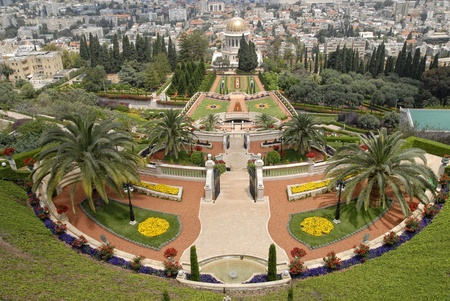 bahai: Ornamental garden of the Bahai Temple in Haifa, Israel.This temple in Haifa houses the tomb of the Bab, the herald of Bahaulla (1817-1892) - the central figure of the Bahaifaith and is world center of this religion.