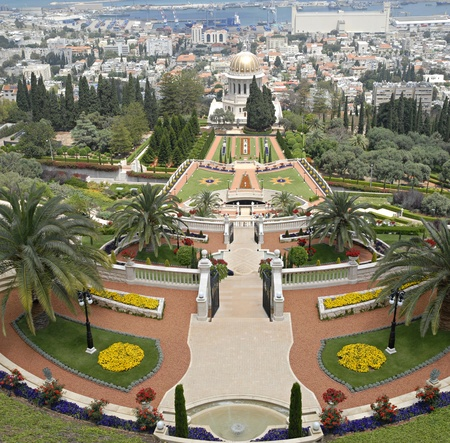 Ornamental garden of the Baha'i Temple in Haifa, Israel.This temple in Haifa houses the tomb of the Bab, the herald of Bahaulla (1817-1892) - the central figure of the Baha'ifaith and is world center of this religion. Stock Photo - 9856455