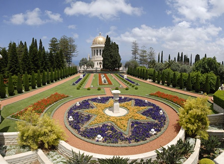Ornamental garden of the Bahai Temple in Haifa, Israel.This temple in Haifa houses the tomb of the Bab, the herald of Bahaulla (1817-1892) - the central figure of the Bahaifaith and is world center of this religion. photo