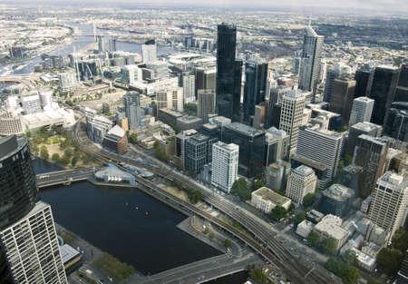 melbourne australia: Beautiful cityscape of Melbourne, Australia. Aerial view from skyscraper.