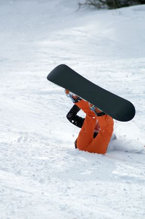 Snowboarder fall photo