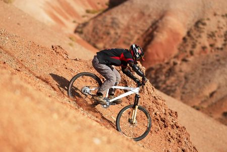 Extreme downhill in red canyon Stock Photo - 692327