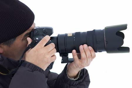 Winter photographer isolated Stock Photo - 691119