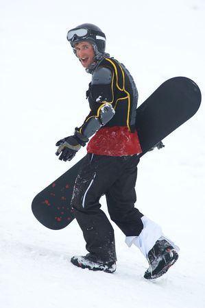 skischool: Snowboarder in defence Stock Photo