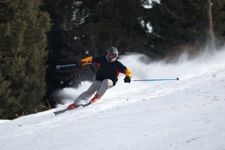 slalom: Sharp turn on ski race Stock Photo
