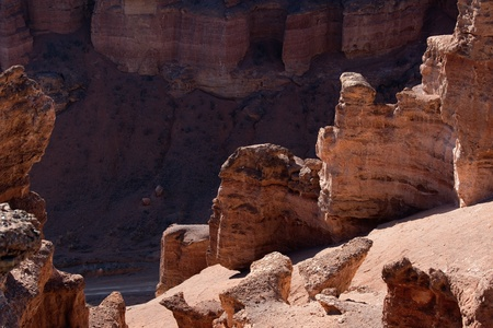ravine: Detail of Charyn canyon, Kazakhstan Stock Photo
