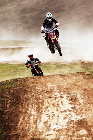 ALMATY, KAZAKHSTAN - APRIL 10: V.Brikun(24) at Motocross competition