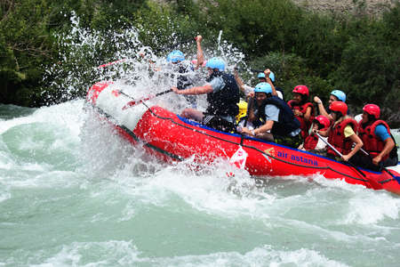 ALMATY, KAZAKHSTAN - JUNE 27: Air Astana team in action at Rafting competition on Chilik river. June 27, 2011 in Almaty, Kazakhstan.