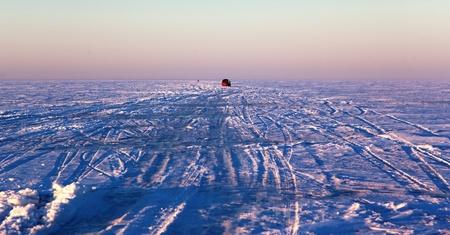 Ice crossing over Lake Balkhash, Kazakhstan Stock Photo - 11913166