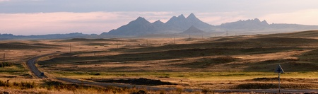 kazakhstan: Early morning and road in desert mountains, Kazakhstan
