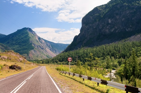 katun: Road and valley of Katun river in Altai mountains, Russia